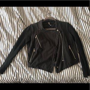 Black Free People cropped moto jacket sweatshirt